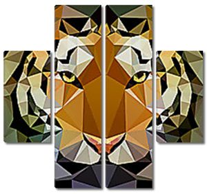 Голова  тигра геометрическими фигурами