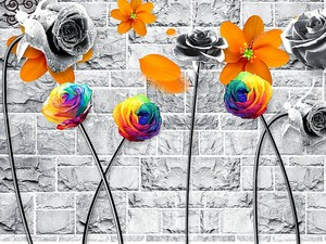 Яркие цветы на фоне серой каменной кладки