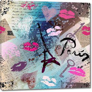 Ретро коллаж альбома для вырезок Париж