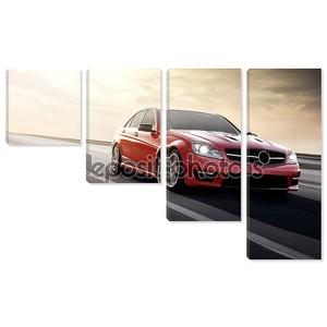 Быстрый диск красный спортивный автомобиль скорость на дороге mercedes-benz
