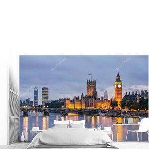 Большой Бен и Вестминстерский мост в сумерках, Лондон, Великобритания
