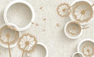 Силуэты одуванчиков с кругами