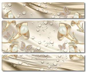 Ювелирные украшения в виде калл  и бабочек с жемчугом