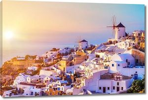 деревня Ия на закат, остров Санторини, Греция