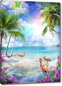 Розовый закат и фламинго на берегу