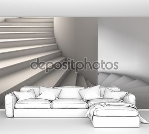 3D иллюстрации простой белый винтовая лестница