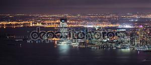 Нью-Джерси ночь панорама из Нью-Йорка Манхэттен