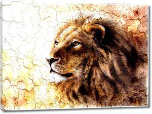 красивая картина львиная голова с шаблоном пустыни мирное выражение majesticaly