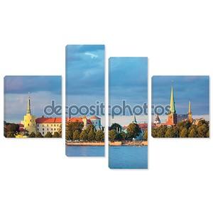 Вид на Рижский замок, Кафедральный собор, Церковь Святого Петра