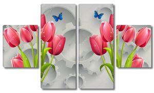 Алые тюльпаны с каплями росы, синие бабочки