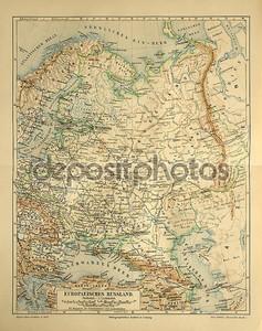 Старая карта Европейской России