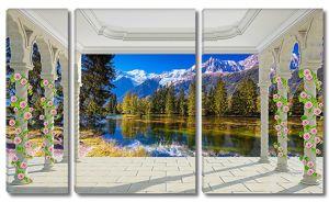 Виз с террасы на горное озеро