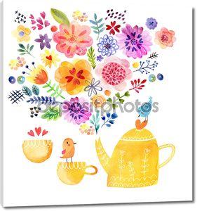 Смазливая чай время карта акварельная живопись
