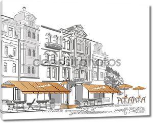 серия уличных кафе в старом городе