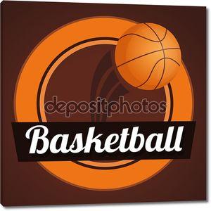 Коричневый фон с баскетбольным мячом