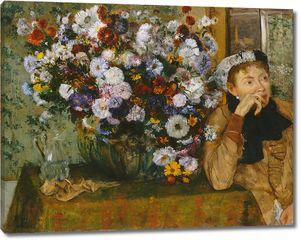 Эдгар Дега. Женщина, сидящая у вазы с цветами