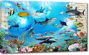 Акулы и дельфины в проломе стены