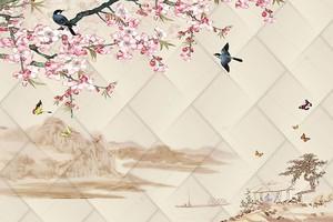 Восточные мотивы - Весна, горы, Сакура, птицы