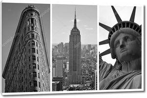 Нью-Йорк черно-белые Триптих