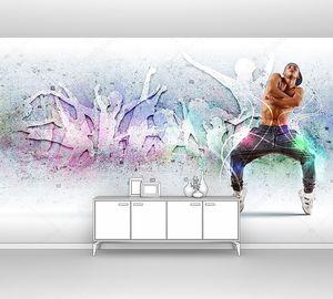 Молодой человек танцует хип-хоп с цветовыми линиями