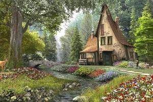 Домик в лесу у ручья