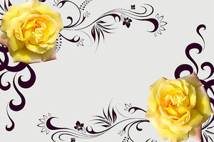 Желтые  розы с завитушками