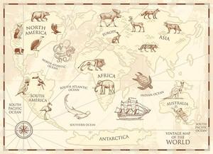 Винтажная карта мира с дикими животными и горами. Морские существа в океане. Старый ретро пергамент. Дикая природа на Земле концепция. фон или плакат для детей. гравировка ручной работы, материк и остров .