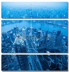 Шанхай в сумерках с голубой тон