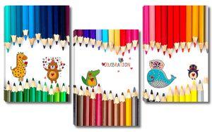 Цветные карандаши с животными