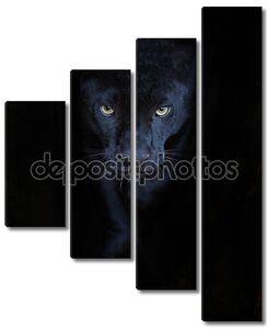 Черная пантера на черном
