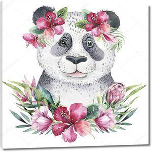 Панда с венком из тропических цветов