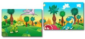 зеленый лес с динозаврами