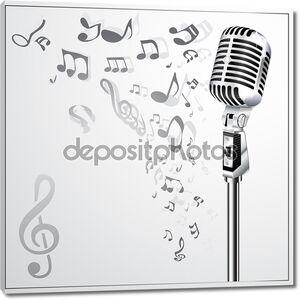 Музыкальный фон с ретро микрофон