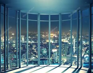 ночное представление из окна высотного здания