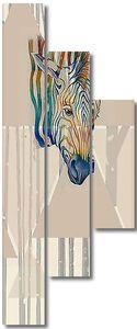 Разноцветная голова зебры