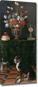 Ван дер Амен Хуан. Натюрморт с вазой и собака