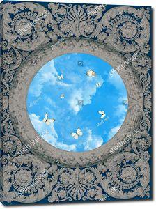 Небо с бабочками в узоре на синем фоне