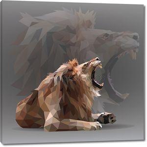 Рычащий Лев в геометрический стиль