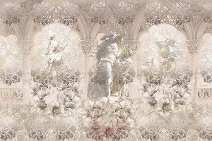 Абстрактная картина со скульптурами