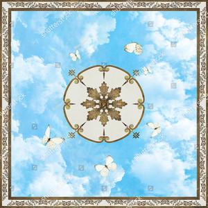 Бабочки вокруг круга в центре