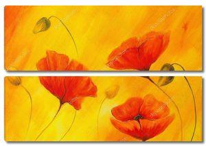 Красный Мак на оранжевом фоне. Красный цветок на абстрактный цвет фона. Красные маки