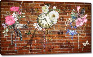 Коллаж из цветов с часами на кирпичной стене