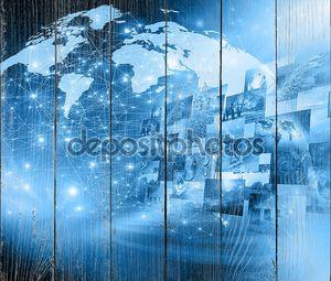 Лучший Интернет концепции глобального бизнеса. Глобус, светящиеся линии на технологических фоне. Электроника, Wi-Fi, лучи, символы Интернет, телевидения, мобильной и спутниковой связи