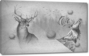 Графический рисунок оленей
