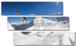 Прыжок сноубордиста в солнечный день