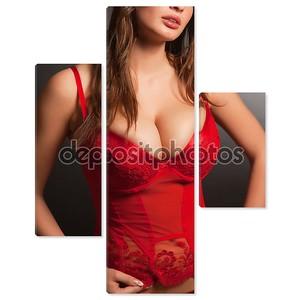 девушка в сексуальное красное нижнее белье