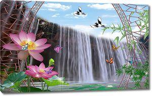 Водопад сквозь ажурную арку
