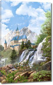 Водопад на фоне замка