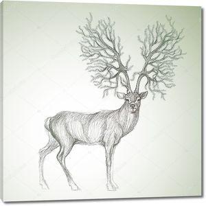 Олень с рогами, как Рождественская елка