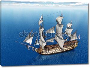 Вид сверху на корабль